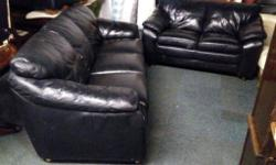 Black leather three seater (204cm) and two seater sofa