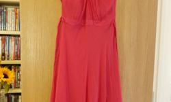 Bright fuscia pink dress by Hobbs. Silk outer layer