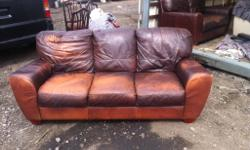 3 seater brown leather sofa as shown in pictures it has