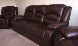 X1 three seater sofa and x2 chairs Manual recliners I