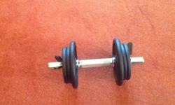 One off, adjustable cast-iron dumbell with chrome bar