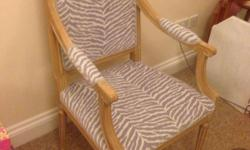 Lovely newly upholstered chair in velour lilac Nd cream