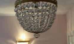 Real crystal chandelier lights. 2 wall lights & 2