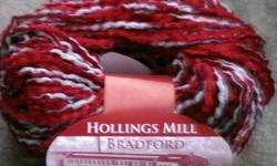 50g ball of chenille knitting yarn in red and white