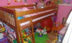 LOVELY CHILDRENS SOLID WOOD MID SLEEPER BED with
