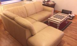 Cream leather corner sofa, good condition. Selling as