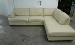 Cream leather corner sofa good used condition has the
