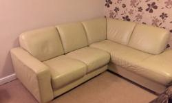 Cream leather corner sofa, very clean and tidy, only
