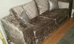 £250 ono Great Charcoal Crushed Velvet 3 Seater