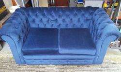 two seater Chesterfield style, navy blue dralon sofa