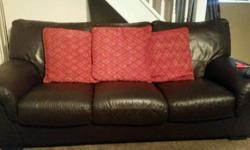 Leather 3 seater sofa and 2 large chairs Well looked