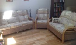 Three and two seater sofas and a single chair in the