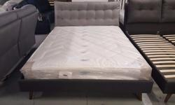 NEW DESIGNER KING SIZE GREY FABRIC BED WITH CUSHIONED
