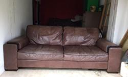 Nice and comfy good quality 3 seater brown leather