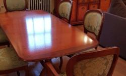Yew dining table comfortably seats 6 with 4 chairs and