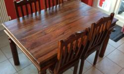 Jali wood dining table with 4 chairs comes to bits and