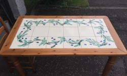 Pine table with hand painted tiles. This includes 4