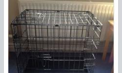 Dog cage/crate, folds flat for storage. Measurements
