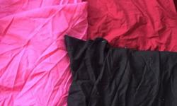 Three fitted sheets in dark pink light pink and black