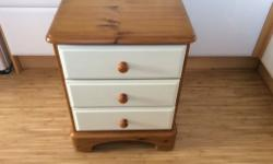 Ducal pine bedside drawers. 3 drawers painted with