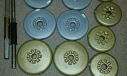 Plastic York weights in good condition. Collection