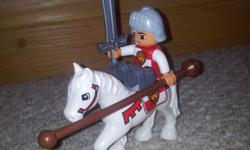 Duplo Lego Knight on Horse with sword and pole In