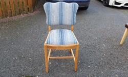 Elm Wood Chair with Duck Egg Blue Re-upholstery Chair