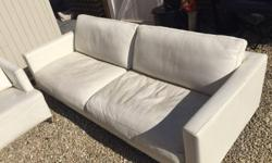 Emilio sofa in Leather - Trentino White 220x94x60cm