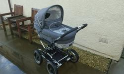 Emmal junga pram/pushchair grey swirls comes with