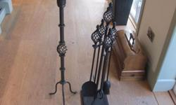 FIREPLACE COMPANION SET AND CANDLE STICKS BROUGHT FROM