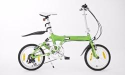 Green folding bike. about a year old but never used.