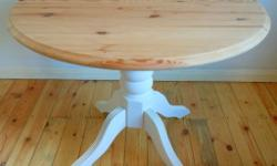 French Country Solid Pine Wood Table White Base Shabby