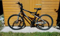 Mens full suspension mountain bike, with front disc