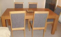 Oiled oak table and chairs - excellent condition -