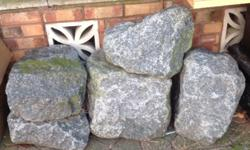 5 granite garden stones, all different shapes and