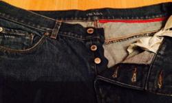 Men's genuine Prada tight fit jeans - button up. Size: