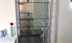 Glass display case 171cm tall 65cm wide 33cm deep 7