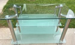 Glass tv stand with 2 shelves for DVD player/sky box