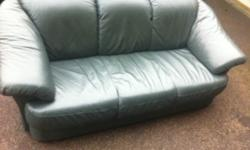 Forest green genuine leather sofa. 3 seater Used but in