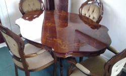 INLAID TABLE AND 4 CHAIRS, HULL YORKSHIRE,, IN