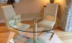 Italian Glass Dining Table ( 1m Diameter) Perfect for a