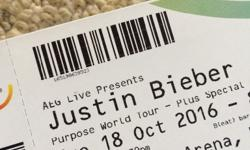 2 X Standing tickets to see Justin Bieber at the