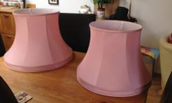 Classic salmon pink lampshades -fabulous material One
