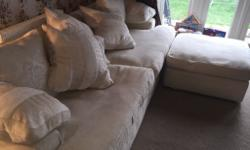 Large cream fabric 3 seater sofa with armchair and