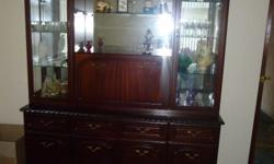 Large Dark wood Display Cabinet with internal lights,