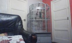 large parrot cage on a stand with accessories