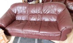 Burgundy Leather 3 Piece Suite. It is used so has some
