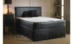 4 FT 6 Double LEATHER Divan Bed + 10 inch Memory Foam