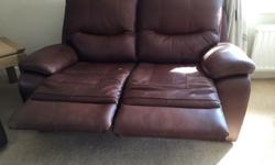 "Two matching 2 seater ""Halle"" leather recliners for"
