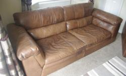 Brown real leather armchair and sofa for sale. Very